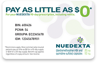 Save on your PBA medication with the NUEDEXTA Co-Pay Savings Card